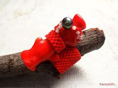 Statement red coral freeform bead ring by PantryGiftsStuff on Etsy