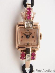 Vintage Retro Deco 14k Rose Gold Diamond Ruby Walker Swiss Made Ladies Watch #Walker
