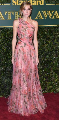 Allison Williams in Alexander McQueen attends the London Evening Standard Theatre Awards. #bestdressed