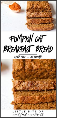 Pumpkin Oat Breakfast Bread - Little Bits of. - Breakfast & Brunch Recipes - This Pumpkin Oat Breakfast Bread is great to prep for the week and have a gluten free and nutritiou - Breakfast And Brunch, Healthy Breakfast Breads, Breakfast Bread Recipes, Pumpkin Breakfast, Breakfast For Kids, Healthy Breakfasts, Gluten Free Baking, Healthy Baking, Gluten Free Vegan Pumpkin Bread