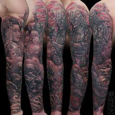 Japanese sleeve tattoo. Geisha, dragon, temple, samurai.  Nicklas Westin   https://www.facebook.com/nicklastattoo