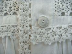 1800s Nightgown with Rick Rack Lace Vintage Child Clothing