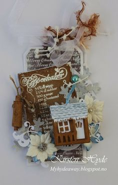 Vintage tag with pop-up rubber band house. 12 tags of Christmas by Kirsten Hyde.  with template and tutorial for the house.