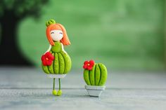 Items similar to Сactus, girl brooch, Accessories cacti , botanical plants desert, cactus gifts summer fashion flower Fairy mini doll Easter decoration on Etsy Polymer Clay Dolls, Polymer Clay Crafts, Cactus Gifts, Cute Clay, Brooches Handmade, Flower Fairies, Flower Fashion, Clay Projects, Clay Art