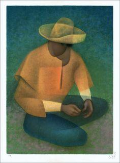 """TOFFOLI Louis - Lithographie Originale """"Le Mexicain (Le gilet jaune)"""" 76x56cm - 1990"""