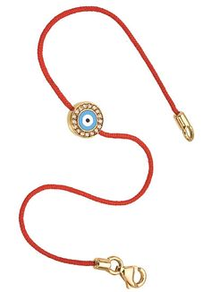 Aaron Basha 18k yellow gold and enamel Evil Eye on red silk cord bracelet,