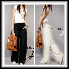 2014 TREND style Spring linen pants elastic waist wide leg pants casual pants fluid straight pants loose bell-bottom trousers $17.84
