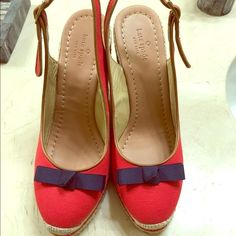 Kate spade wedge This gorgeous shoes are in excellent condition. I wore it once.  Very comfortable. Navy bow on top. Some discoloration and wear on the buckles as you can see in the pic. No box or dust bag. Offers are welcomed. kate spade Shoes Wedges