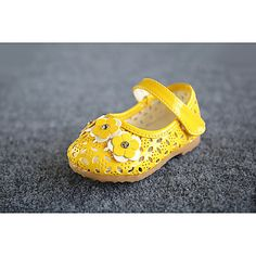 Girl's Flats Spring / Summer / Fall Comfort / First Walkers Leather Outdoor / Casual Flat Heel Applique / Magic Tape Yellow / Pink / White 5367124 2016 – $16.99