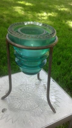 Vintage inspired chicken coop feeder with antique glass for Insulator candle holder