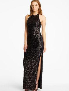 HALSTON HERITAGE Sequin Halter Gown Black  Was: 495.00$ Now: 198.00$
