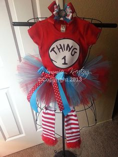 Dr Seuss Thing 1 and Thing 2 tutu Set  by MommiezKreationz on Etsy