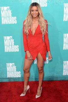 Ciara in Balmain. I almost mistook her for Beyonce here with the hair and the dress! #fashion #celeb #Ciara