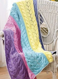 Knitting Pattern for Paneled Cable and Lace Afghan - This throw is knit in 5 strips and seamed. Designed by JoAnne Turcotte, this pattern is one of the 53 patterns in the book Easy as 1-2-3 Skeins.