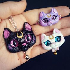 ✨✨Famous ✨cat-family  custom order, three wearable pieces Luna #pendant , Artemis #brooch and Diana #bracelet #sailormooncat #lunacat #artemiscat #sailormoon #catpendant #catcharm #catnecklace #catpins #catart #handmade #catlady #cats #polymerclaycharms #polymerclayjewelry #catbrooch #luna #blackcat #mooncat #lovecats #handmadedoll #polymerclaydoll #ooakdoll #dollartist