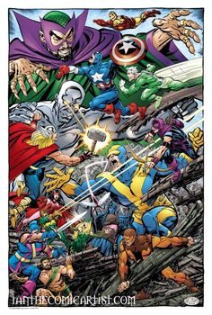 AVENGERS vs Mandarin, Ultimo, Living Laser, Enchantress, Executioner, Power Man & Swordsman by John Byrne