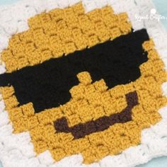 Sunglasses Emoji C2C square and pixel graph