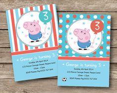 GEORGE PIG Personalised Invitation - Card - Custom Invite - Kids - Boutique…
