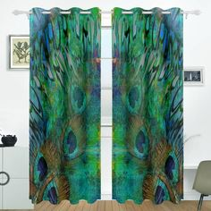 ALIREA Abstract Peacock Blue Background Blackout Curtains Darkening Thermal Insulated Polyester Grommet Top Blind Curtain for Bedroom, Living Panel x Inch) Peacock Room Decor, Peacock Living Room, Peacock Bedroom, Gold Bedroom, Peacock Curtains, Peacock Pillow, Peacock Fabric, Master Bedroom, Shopping