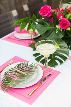 We're saying farewell to summer in style with a tropical soirée & Cointreau's Original Margarita. The palm print & pink may make this my favorite party yet! fun ideas A Tropical Summer Soirée - HOUSE of HARPER Outdoor Bridal Showers, Tropical Bridal Showers, Luau Bridal Shower, Bridal Shower Decorations, Wedding Decorations, Outdoor Decorations, Summer Table Decorations, Tropical Party Decorations, Tropical Party Foods