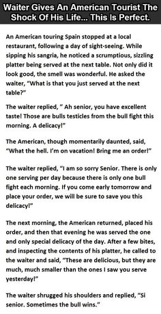 Waiter gives an American Tourist the shock of his life... This is perfect.