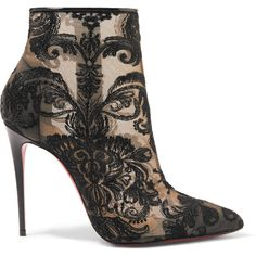 Christian Louboutin Gipsy 100 guipure lace ankle boots featuring polyvore women's fashion shoes boots ankle booties black pointy booties black ankle booties lace-up bootie short black boots black lace booties