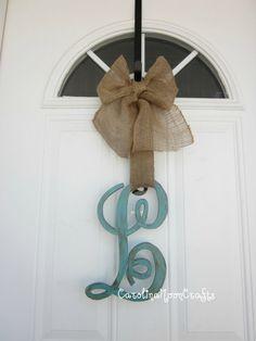 Single Letter Monogram Wooden Door Decor  12 by CarolinaMoonCrafts, $34.95