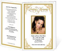 Funeral Order Of Service Programs Golden Frame Tribute Single Fold With Flourish Corners Program