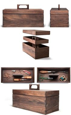 Decorative Boxes : Handmade tool box hewn from Nicaraguan walnut. Interior tray for screws, nails and storage of other small items. Large lower compartment for hammers and screwdrivers. Measures 14 inches long x 6 ½ inches deep x 6 inches high. Wood Tool Box, Wooden Tool Boxes, Wood Tools, Tool Box Diy, Wooden Jewelry Boxes, Diy Holz, Tool Storage, Small Storage, Diy Storage