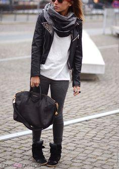 black moto jacket + white tee + black leggings + black wedge sneakers