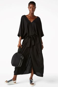 Monki Long caftan dress in Black