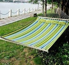 Outsunny Double Wide Outdoor Patio Cotton Hammock Swing Bed with Pillow, 83 x Green/Blue Hammock Swing Bed, Hammock Stand, Hammocks, Camping Hammock, Backyard, Patio, New Blue, Blue Green, Yellow