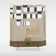 """""""Who stole my Mac?"""" Customize your bathroom decor with unique shower curtains designed by artists around the world. Made from 100% polyester our designer shower curtains are printed in the USA and feature a 12 button-hole top for simple hanging. The easy care material allows for machine wash and dry maintenance. Curtain rod, shower curtain liner and hooks not included. Dimensions are 71in. by 74in."""