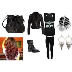 """biker chick"" by ashmoale on Polyvore"