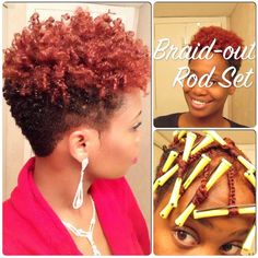 Braid-Out Rod Set on Tapered Natural Hair - Hairstyle for black women Natural Tapered Cut, Natural Hair Cuts, Natural Hair Journey, Tapered Sides, Short Natural Styles, Natural Short Hairstyles For Black Women Tapered Twa, Short Natural Black Hair, Pelo Afro, Corte Y Color