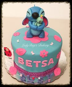 Stitch Birthday Cake regarding Newest - Birthday Ideas Make it Birthday Party Desserts, Cool Birthday Cakes, Birthday Ideas, Fondant Cakes, Cupcake Cakes, Lilo And Stitch Cake, Cake Designs For Kids, Character Cakes, Disney Cakes