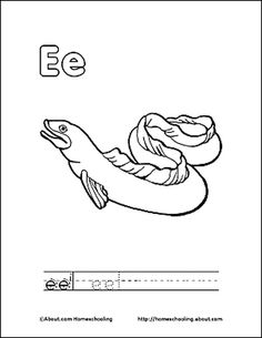 Letter E Coloring Book - Free Printable Pages: Eel Coloring Page