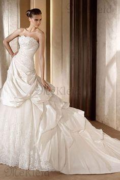 Ganzfigur Besonderes Gerüscht Sanduhr Perlenstickerei Taft Brautkleid