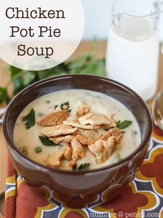 Chicken Pot Pie Soup  perfect use for a store bought rotisserie chicken or left over chicken. this recipe uses frozen shredded potatoes for hash browns instead of whole potatoes to cut the cooking time
