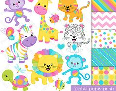 Pastel Rainbow Animals Clipart - Clip Art and Digital paper set Planner Stickers, Jungle Clipart, Art Clipart, Llama Clipart, Clip Art, Colorful Animals, Jungle Animals, Photoshop Elements, Art Images
