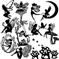 Die Cut Out Silhouette - FAIRIES, topper x 13 card making, Fairy jar, Scrapbook #TrulyHappyDesigns