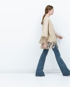 Image 3 of LEATHER FRINGED PONCHO from Zara