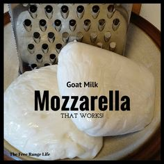 How to Make Goat Milk Mozzarella Successfully! Try out this recipe for the perfect goat milk mozzarella cheese! No more crumbly, dry curds just lovely smooth mozzarella! Goat Milk Recipes, Goat Cheese Recipes, Goat Milk Mozzarella Cheese Recipe, Mozzarella Homemade, Homemade Goats Cheese, Goat Meat, Milk And Cheese, Raw Milk, How To Make Cheese