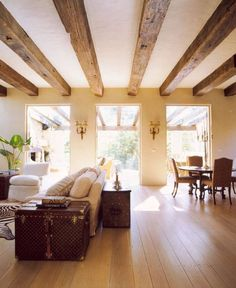 living room exposed beams