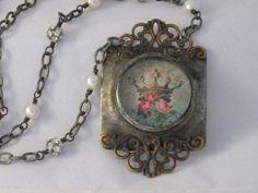 Crown Necklace Soldered Filigree Pendant