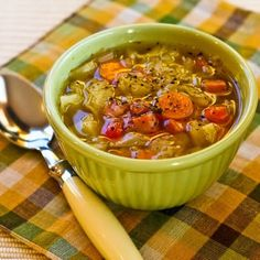Crockpot (or Stovetop) Recipe for Ham and Cabbage Soup with Red Bell Pepper [from KalynsKitchen.com]