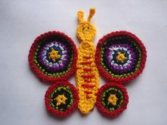 Crochet butterfly applique pattern instant by TheLazyHobbyhopper