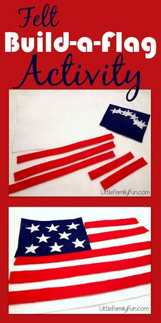 Fun Fourth of July Activity for Toddlers. American Flag---Made two for my Fourth of July fun box because the little kids always have fun playing with felt stuff