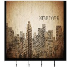 Celebrate your love for New York with this stylish and functional art piece and wall hook hanging.