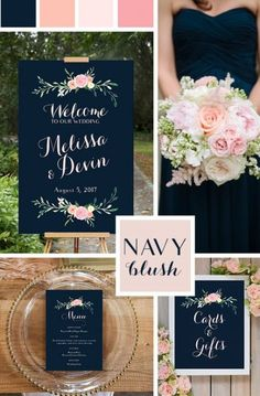 Blue Wedding Flowers Navy and Blush Pink Wedding Signs, printable. Poster size, and designs. Beautiful wedding colors, incorporating navy and blush pink, and coral. Navy Blush Weddings, Wedding Blush, Wedding Bouquets, Wedding Bridesmaids, Fall Wedding, Dream Wedding, Trendy Wedding, Wedding Ideas For Bride, Navy Spring Wedding